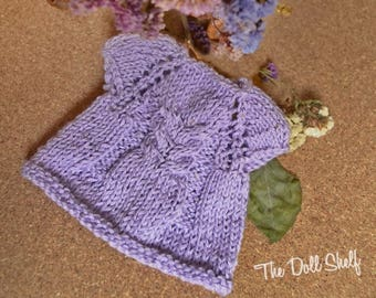 Lilac cardigan for doll 14-16-15-16-17 inch, doll cardigan, Waldorf doll clothes, Steiner doll clothes, knitted clothes for doll