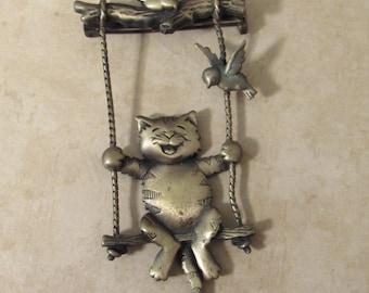 Vintage J Jonette Brooch/Pin - Swinging Cat Pin/Brooch - Vintage JJ Jewelry