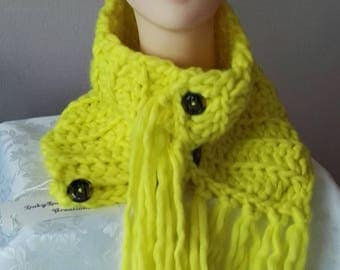 Yellow scarf neck warmer scarf with fringe for snood