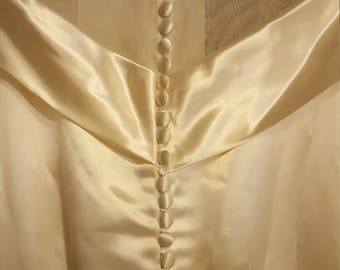 Vintage Ivory Satin Wedding Dress, Vintage Wedding Dress with Train