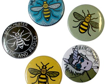 Manc and Proud Pack of 5 Badges Manchester Bee Mancunicorn Northern Quarter Worker Bee Hacienda Made in UK Buttons Pin Unicorn Gallagher