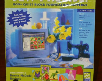 Sew Precise! 800+ Quilt Bock Foundation Patterns Donna McDade Designs CD Rom Electric Quilt Company