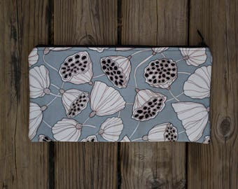 fabric pouch with white lotuses design gray background-light blue