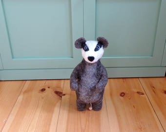 Badger Music box baby musical toy natural baby toy needle felted animal stuffed animal felted badger baby nursery decor baby shower gift