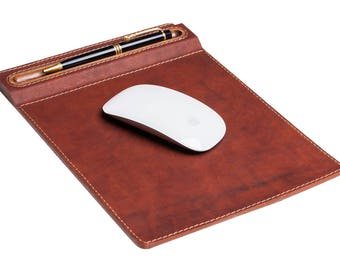 Leather & walnut mouse pad, desktop, mouse pad