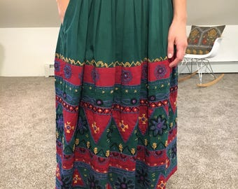 Embroidered Green Skirt with Pockets!