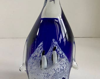 Murano Style Blue Art Glass Penguin with 2 baby Chick Penguins