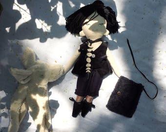 Snow Fox spirit guardian. Handmade, wool filled doll