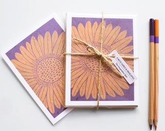 Blank cards - Note Card Set - Note Cards - Handmade Cards -Stationery - Linocut - Novelty Cards - Floral Cards - Daisy Flowers - Daisies