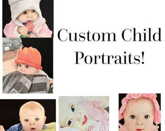 Custom Child Portraits, Custom Baby Portraits, Child Portraits, Baby Portraits, Baby Pictures, Baby Drawings, Baby, Drawing, Portraits