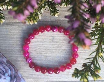Pink Agate Crystal Bracelet