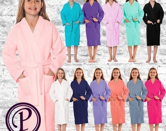 12 Colors Kids Waffle Kimono Flower Girl Robes, Monogrammed Robes, Embroidered Robes, Wedding Day Robes, Bridal Party Robes, Gift, Spa Robe
