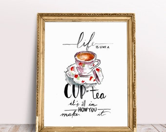 Life is like a cup of tea it's all in how you make it, Watercolor Quote, Printable Wall Art, Life quote, Tea Quote