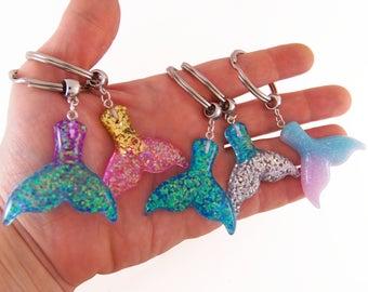 Mermaid tail keychain, mermaid tail key chain, mermaid party favors, mermaid gift, mermaid accessories, mermaid gifts, whale tail key chain
