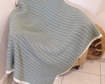 Olive Green Afghan (Cream Border)