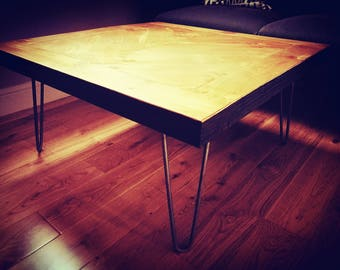 Industrial coffee table/Reclaimed wood with hairpin legs