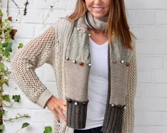 Over the Taupe Knit Scarf with Beads