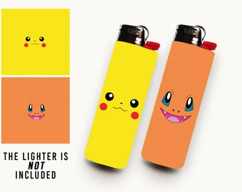 POKEMON • 2 Waterproof Vinyl Lighter Stickers For BIC Lighter • Minimalist Charmander, Pikachu Art