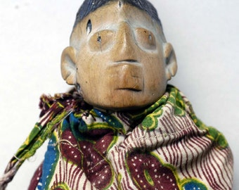 Hand Carved Wooden Ibeji Fetish with Fabric  - West African Wood Carving - IB43