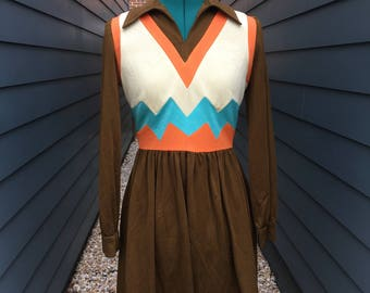 1970s Suzy Perette by Victor Costa Dress // 1970s Dress // Vintage Dress