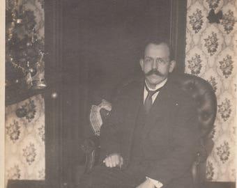 Vintage Early Photo Mustache Dapper Man in Leather Chair Wallpaper Interior Design Found Black & White Antique Ephemera Old Paper Art Decor