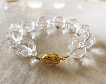AAA Star Faceted Rock Crystal Quartz 14mm Beaded Bracelet with 24K Gold Vermeil Box Clasp