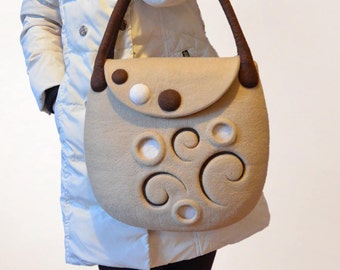 Beige Brown Felt Handmade Handbag, Hand Felted Shoulder Winter Bag