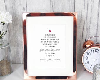 KODALINE The One lyrics print 7x5 first dance wedding song/alternative unique gift for her our song rock customisable home decor wall art