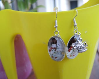 Earrings cabochon chibi and little teapot