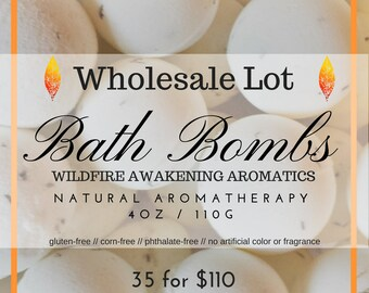 Wholesale lot of 35, Aromatherapy Natural Allergen-Friendly Bath Bombs, 4 oz, wedding favor, shower favor, gluten free,
