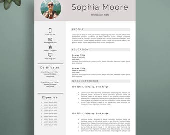 Professional Resume Template, Modern Resume Template For Word And Pages, Elegant  CV Template,