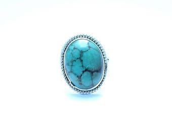 TURQUOISE SILVER RING, Turquoise Ring, Turquoise Stone Ring, 92.5 sterling Silver Ring, Handmade Ring, Gypsy Ring ,  5