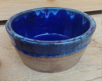 Medium Pet Dish with Blue Glaze and Iron Oxide Wash