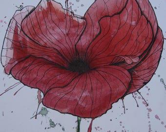 Drip art poppy.