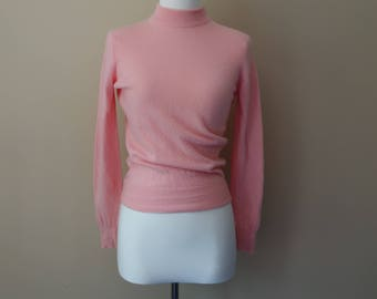 Vintage 1960s pink cashmere sweater by Pringle of Scotland