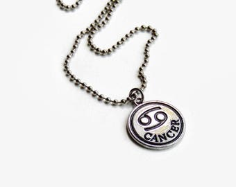 Cancer Zodiac Sign Necklace - Cancer Sign Necklace - Mens Zodiac Necklace - Mens Cancer Necklace - July Birthday Necklace Cancer Silver