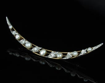 Late 19th C Crescent Moon Brooch with Diamond and Pearls in Platinum Topped 15K