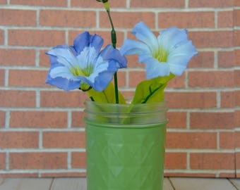 Small Green Hand Painted Flower Vase made from Recycled Glass Jar