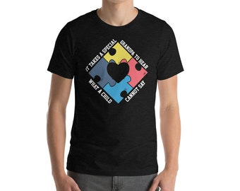 Autism Grandpa Shirt - Autism Awareness Shirt - Autism Awareness Month - Special Needs Aspergers Special Education Teacher Shirt - Autistic