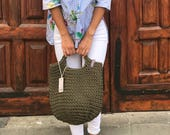 Crochet Tote Bag Knitted Handbag KHAKI color Modern Scandinavian Style Crocheted Tote Market Bag Slow Fashion Knit