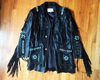 RARE Vintage Collectable Designer Chambers by Arturo Beautiful Native American/Western Style Leather Turquoise Beaded Fringe Rockstar Jacket