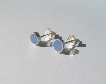 Sterling Silver Earrings with Blue Resin