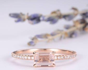 Emerald Cut Morganite Engagement Ring Rose Gold Pave Diamond Eternity Ring Promise Ring Women Anniversary Multistone Wedding Bridal Ring