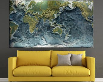 Colorful  relief World Map Canvas Panels Set, World relief World Map Print, / 1,2,3,4 or 5 Panels on Canvas Wall Art for Home & Office Decor