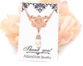 Simple bridesmaid necklace, Rose Gold filigree necklace, pearl wedding necklace, Swarovski pearl drop necklace, pearl wedding jewelry
