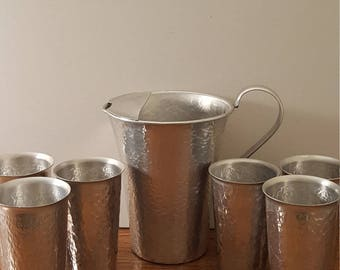 Vintage Gailstyn Hammered Aluminum Pitcher and 6 Glasses (c. 1960's)