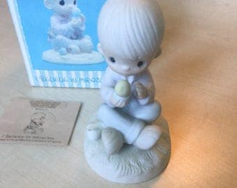 Vintage Precious Moments I Believe In Miracles Figurine E-7156