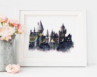 Harry Potter Gift, Hogwarts, Hogwarts Castle, Harry Potter Poster, Harry Potter Print, Harry Potter Art, Harry Potter Wall Art, Dumbledore