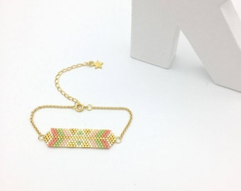 Hand woven bracelet AYASHA SPRING green, salmon and gold