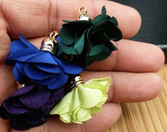 Tassels 8 Flower Fabric Tassels For Earrings Necklace Dresses DIY Costume Designing Jewelry Making Supply Handmade Boho Cute Satin Tassels.
